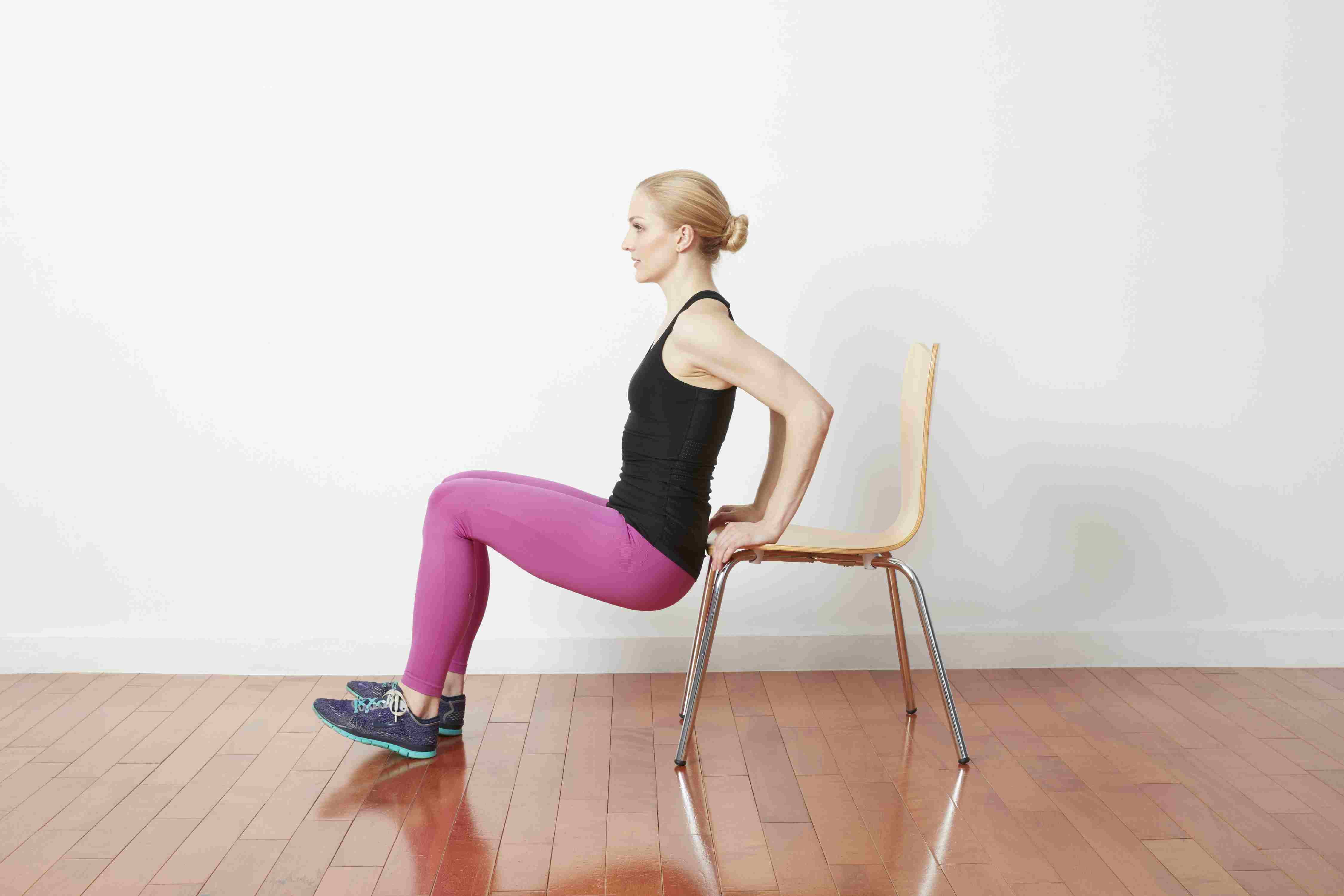 Woman Doing Tricep Dip With Chair