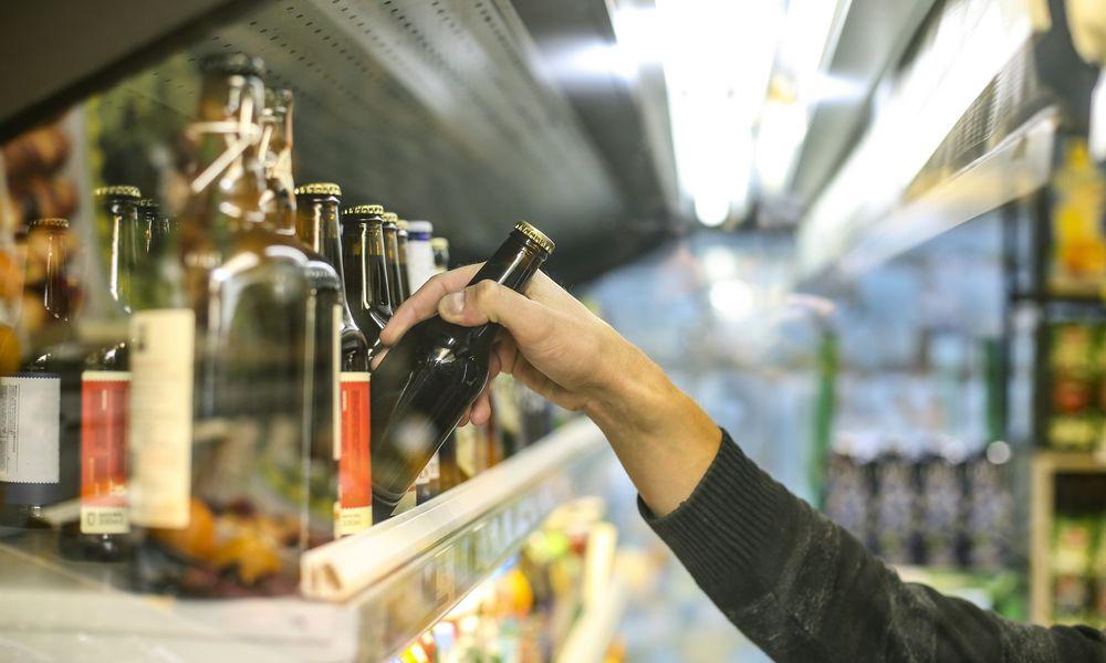 Grabbing a beer
