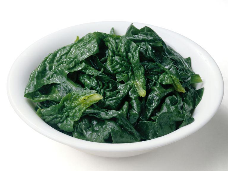 Spinach is high in vitamin K.