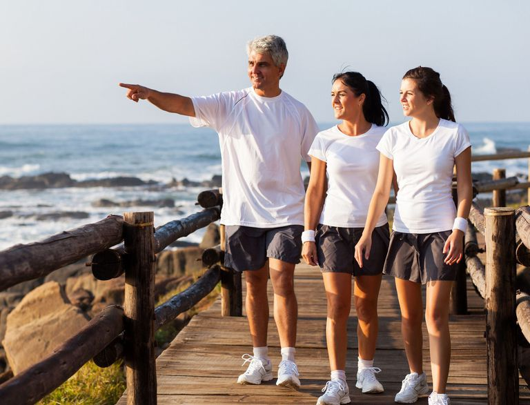 Family Walking at Beach Bordwalk