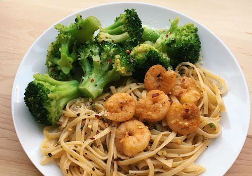 shrimp linguine pasta dinner