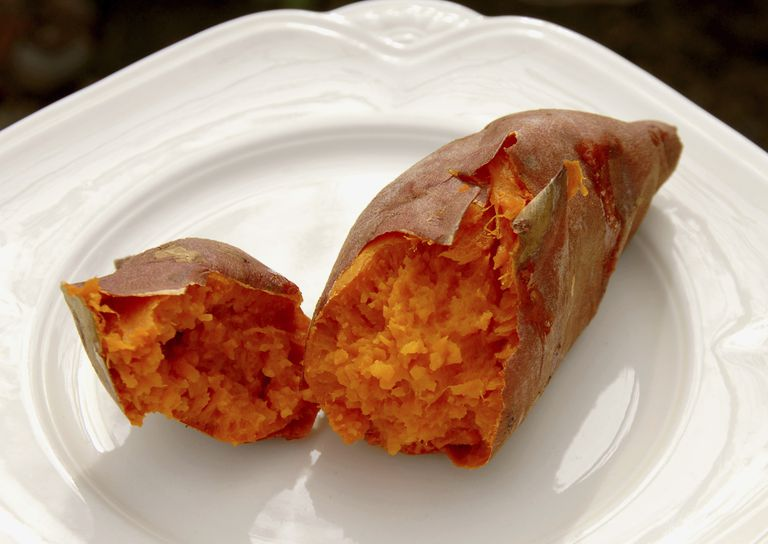 Baked sweet potatoes are easy and healthy.