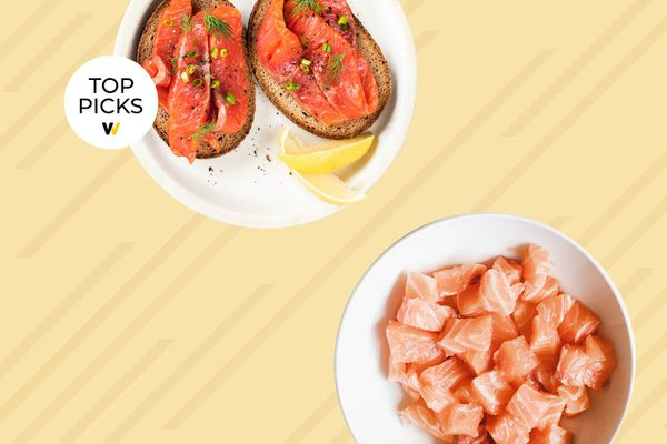 Photo composite of plated raw cubed salmon, and toast with sliced smoked salmon