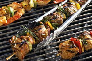 Variety of grilled shish kebabs