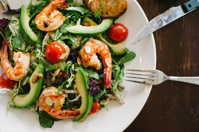 Shrimp, avocado, tomato salad