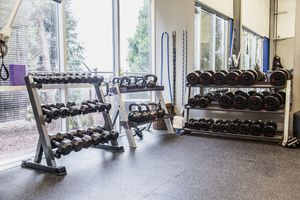 Racks of weights in a gym