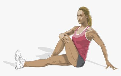Image of the hip rotation stretch.