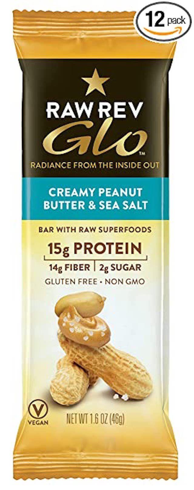 Raw Rev Glo Protein Bars Creamy Peanut Butter & Sea