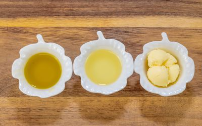 Various butters and oils used for cooking