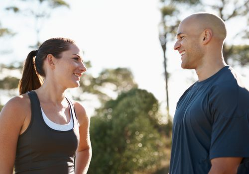 Man and woman enjoying endorphin release after exercise