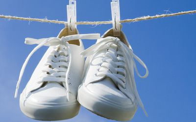 Shoes Drying on Clothesline