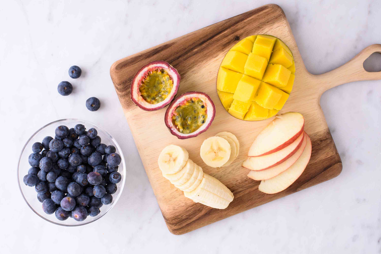 fruit platter of blueberries, bananas, apples, and more
