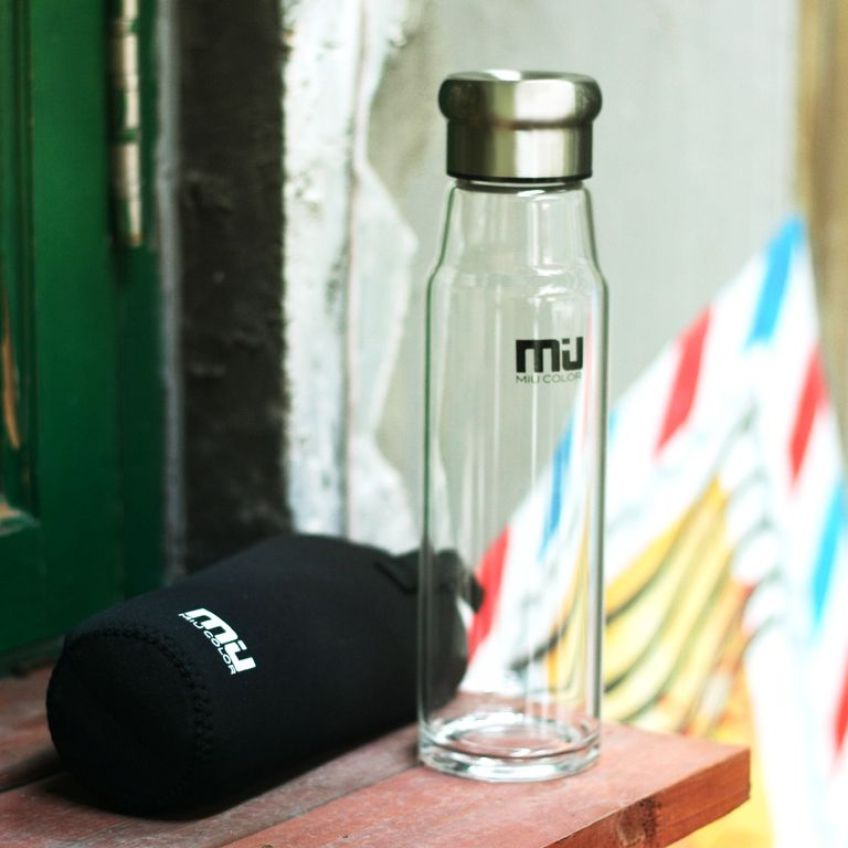 MIU COLOR Glass Water Bottle and Sleeve