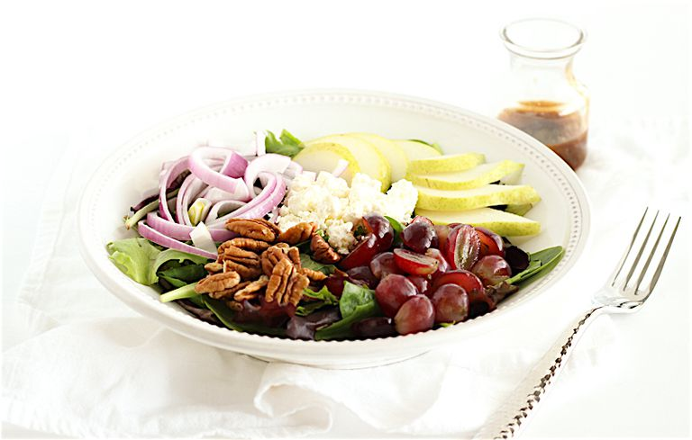 pear, grape, and feta salad