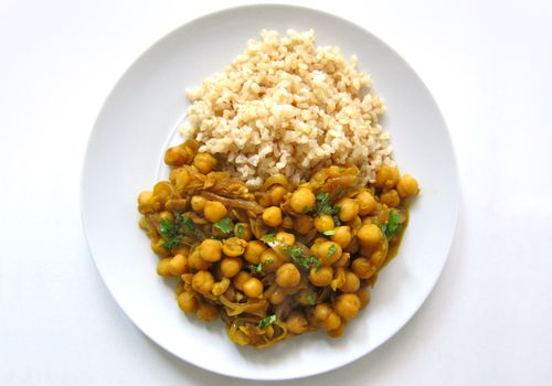 Trinidad Style Curried Chana with rice on a plate