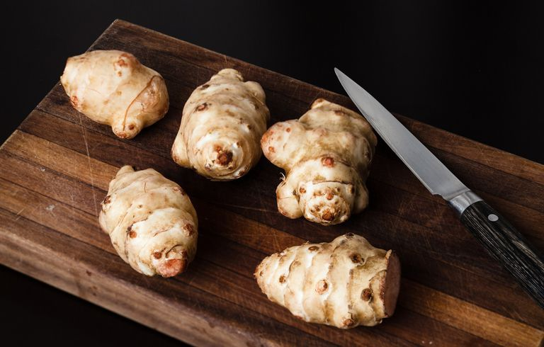 Jerusalem Artichokes on a cutting board