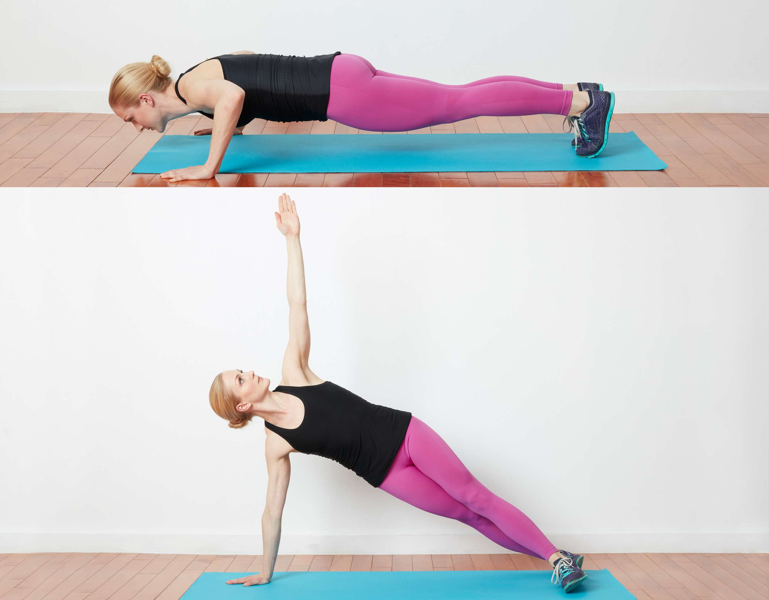 Woman doing pushup side plank exercise