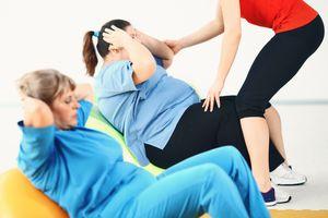 Overweight women on an exercise ball