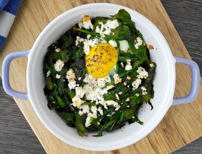 Baked eggs with spinach and feta