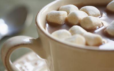 Closeup of hot chocolate with mini marshmallows