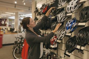 Netherlands, Goirle, Business owner in bicycle store