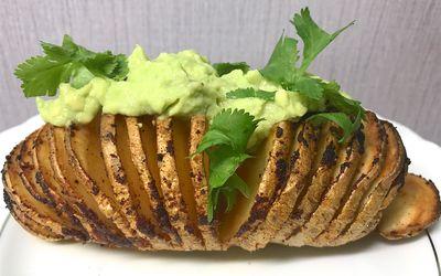 hasselback potato with guac