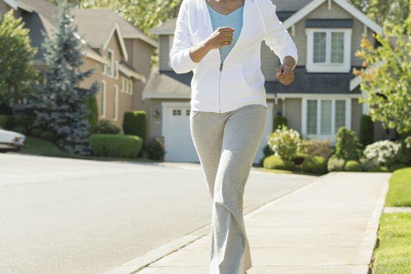 Mature woman power walking