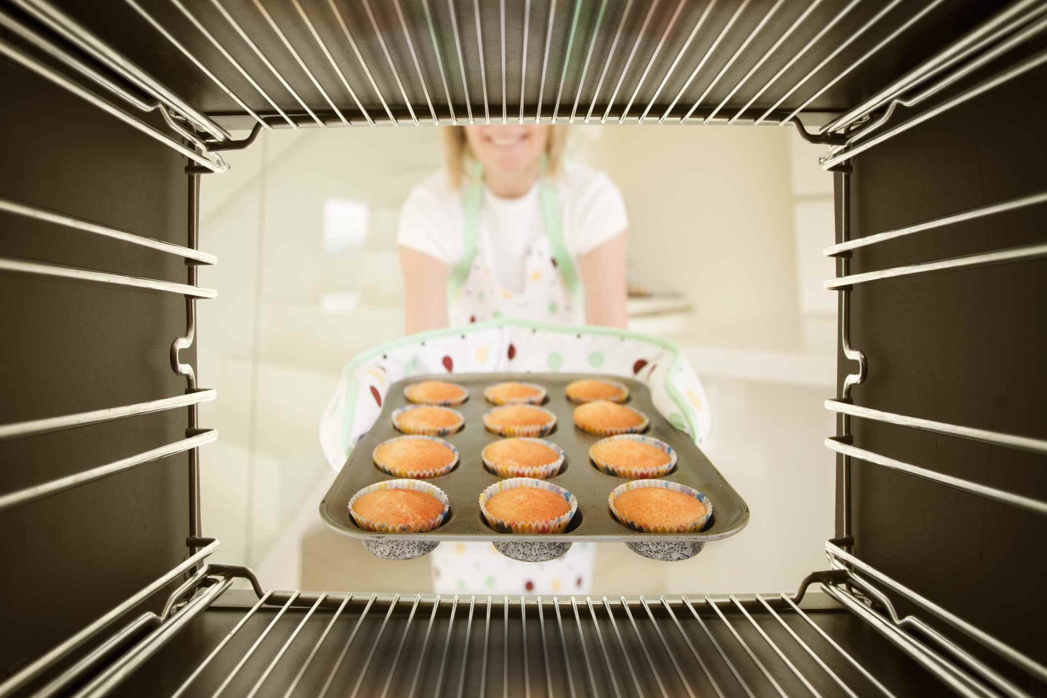 oven with gluten-free muffins