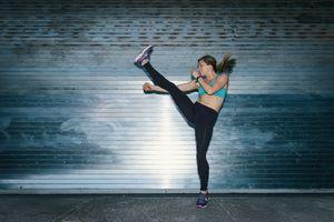 Woman kickboxing
