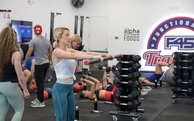 People at an F45 workout.