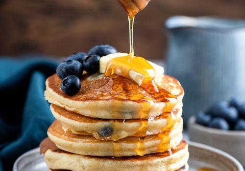 Honey on pancakes