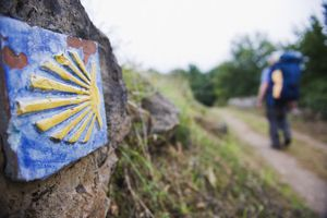 Hiker pilgrim on the Camino de Santiago, Asturias, Spain, Europe