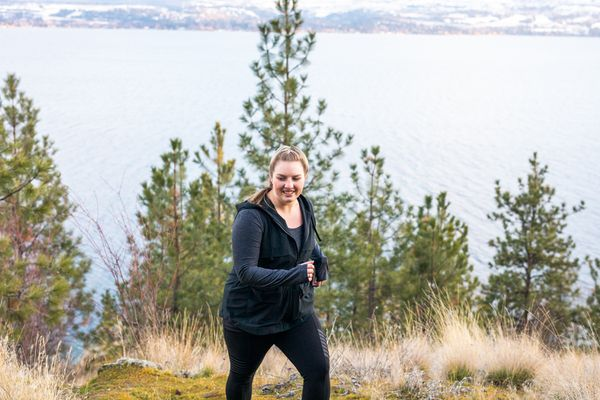 woman walking for fitness in the mountains
