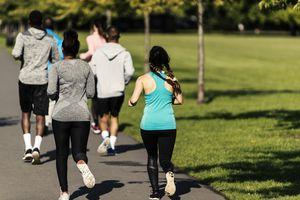 Multi-ethnic joggers running