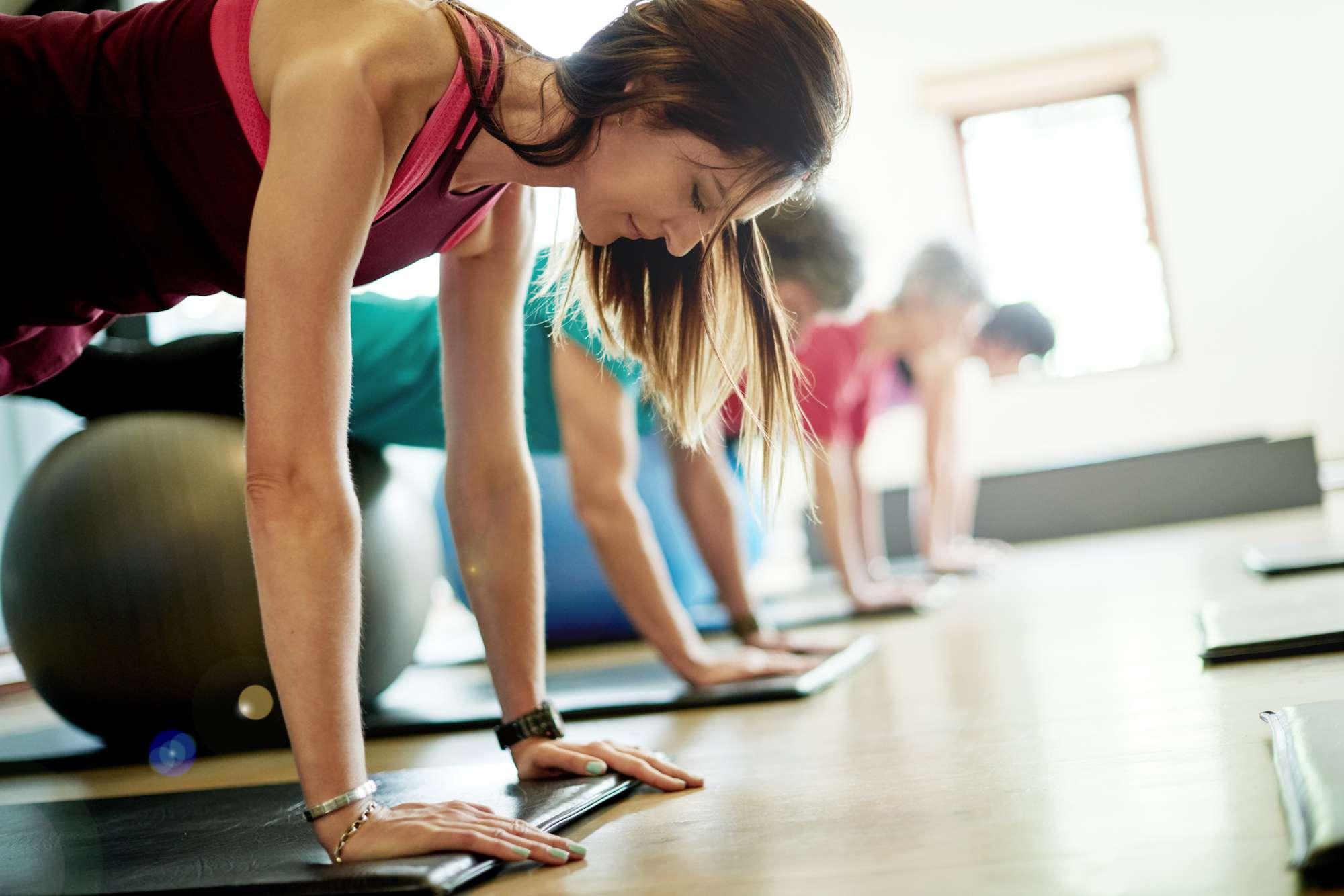 Pilates on a rubber mat