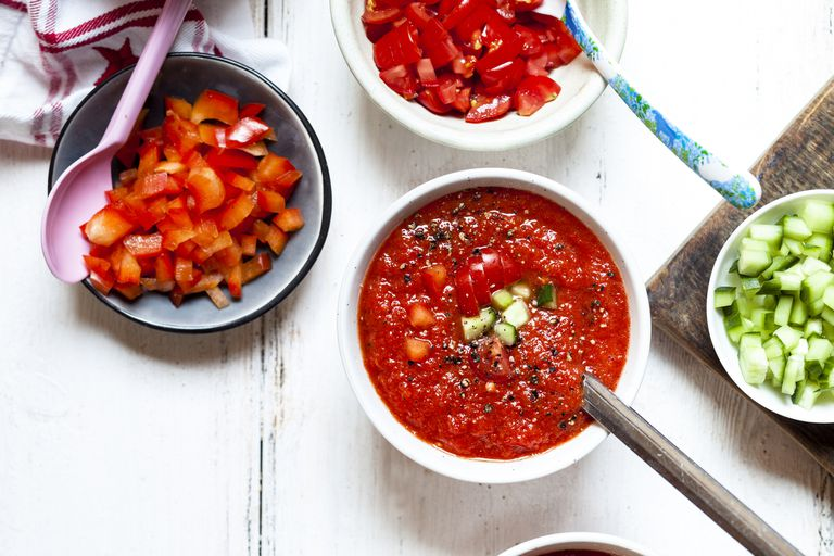 Gazpacho soup with tomatoes, peppers, and cucumbers