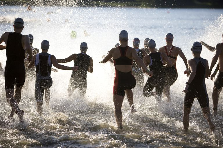 People participating in a triathlon