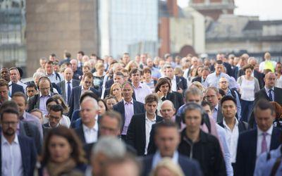 Pedestrians walking.