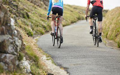 Couple in biking shorts