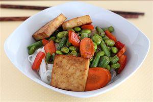 sticky baked tofu noodle bowl