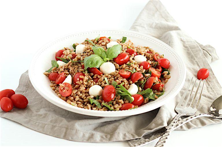 tomato, basil, farro salad