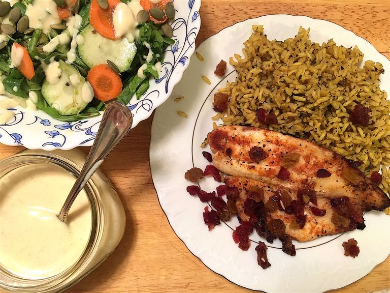 Pan-Seared Tilapia Over Golden Rice