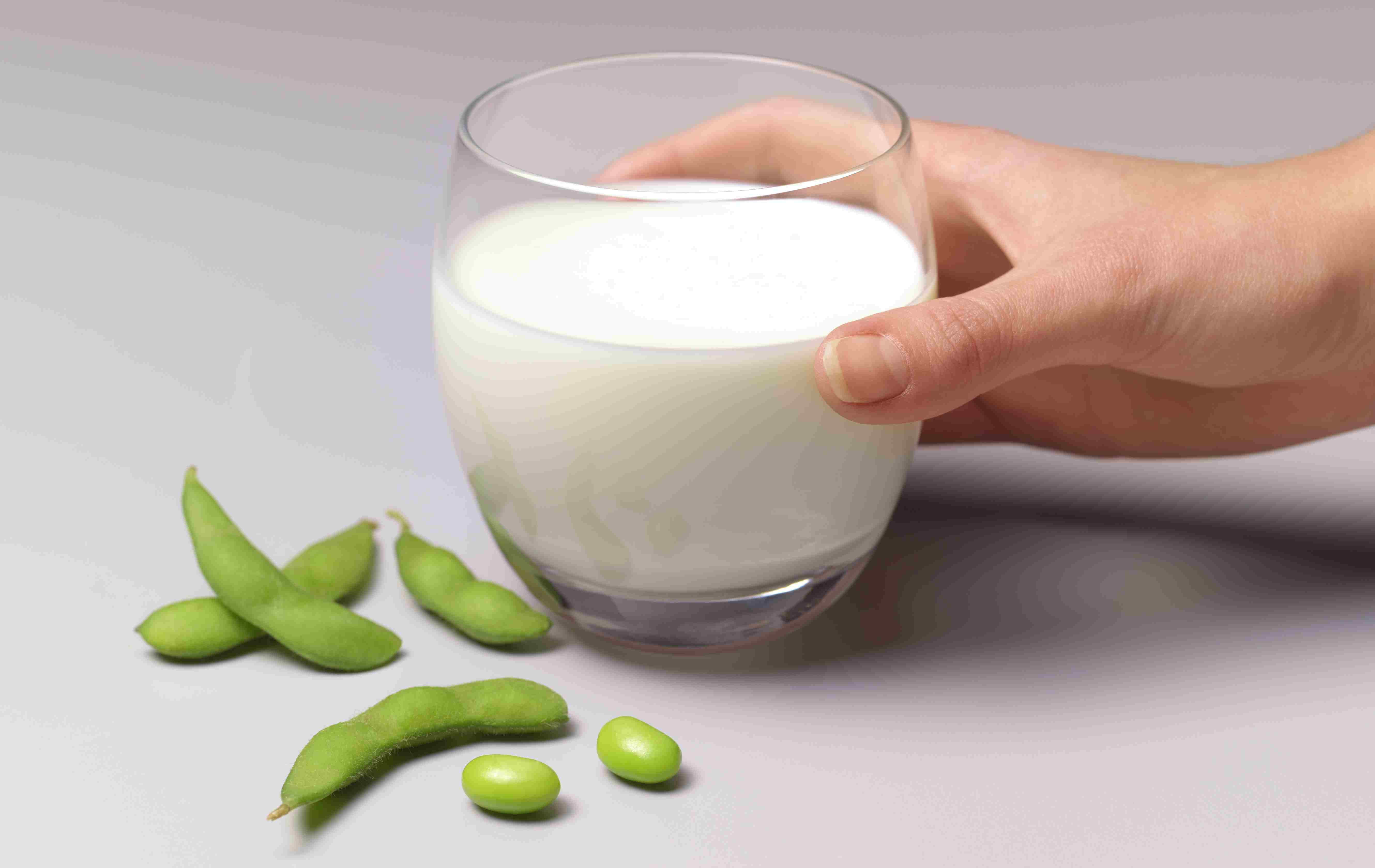 Soya beans and soya milk in glass