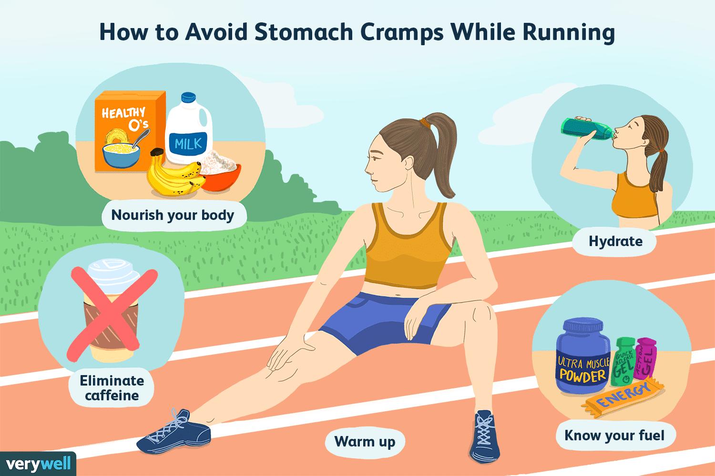 """Ilustración de una mujer que se estira en la pista con el texto """"Cómo evitar calambres estomacales mientras corre"""""""