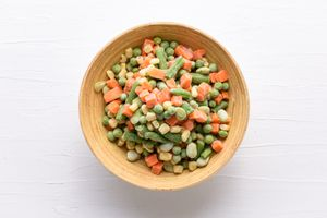 frozen vegetables including corn, lima beans, green beans, peas, and carrots