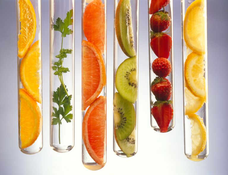 Vitamin C-rich foods presented in test tubes