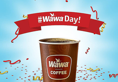 Picture of a Wawa Day promotion with free cofee