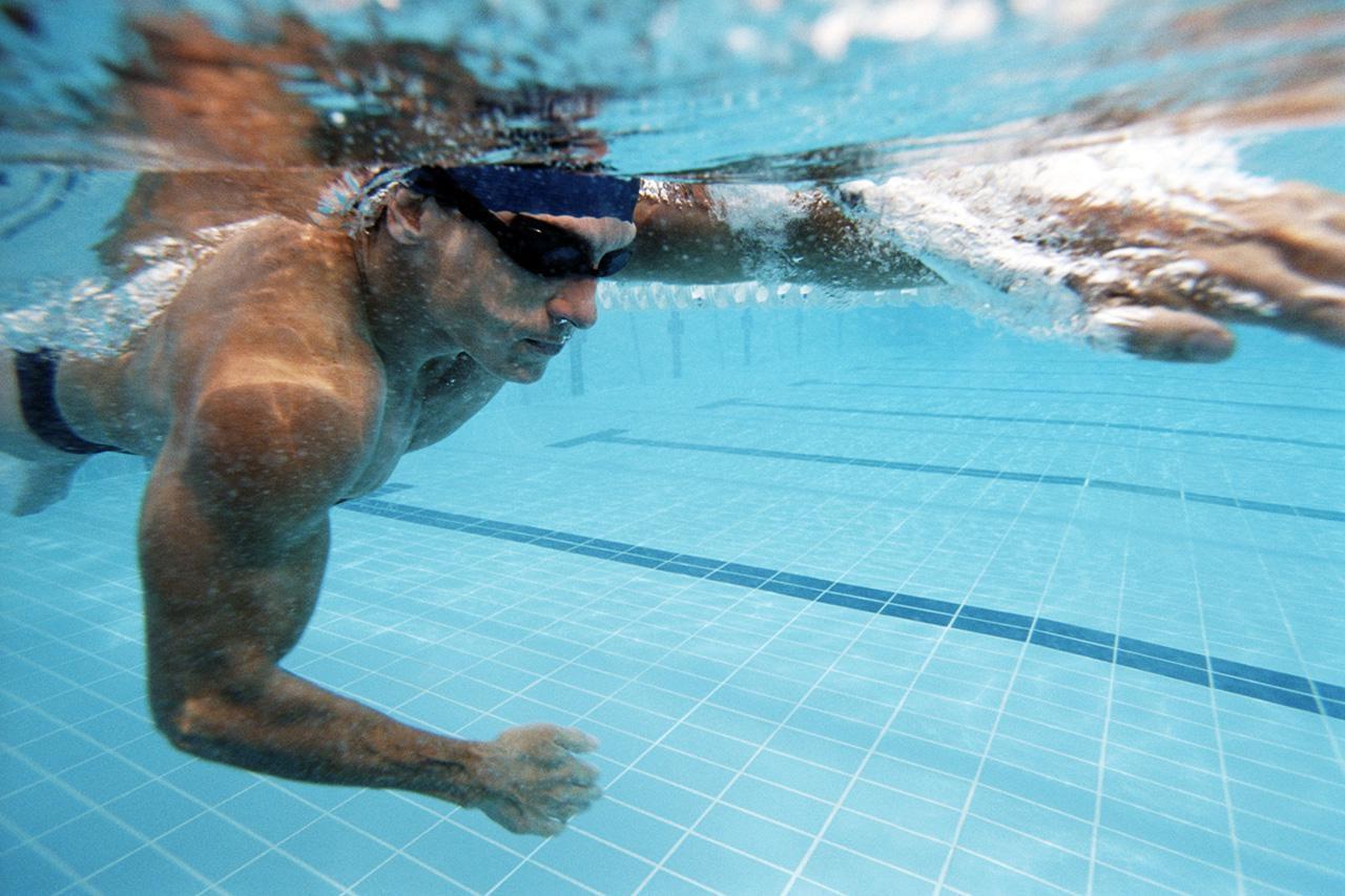 Man swimming laps