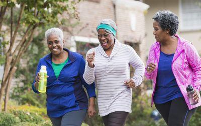 senior women walking for exercise