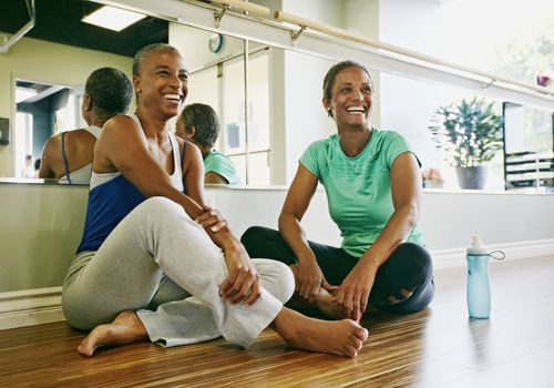 Women relaxing together in a yoga studio